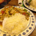 chicken with oyster sauce , white rice