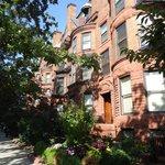 Neighborhood of brownstone buildings