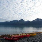 Kayaks preparing for Aialik Glacier /Slate Island trip