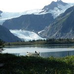 View from the Lodge of Pedersen Glacier and lagoon