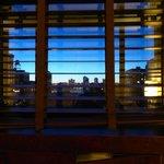 vue sur le soleil couchant sur l'Hudson River