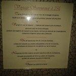 Le menu que nous avons pris
