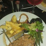 8os Sirloin steak. Was well presented until I added my seasonal greens and salad