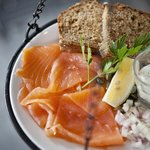Our Smoked Salmon with shallots, capers and dill creme fraiche