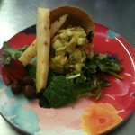 avocado salad in a shell with fresh fruit