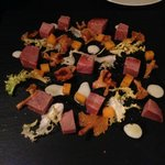 Corned tongue with chanterelles and pumpkin