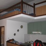 Loft over kitchen has two twin beds
