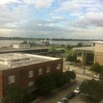 view of the uss kidd and river center from our room