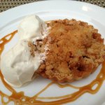 Warm Local Honey Crisp Apple Caramel Tart with ice cream