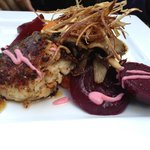 Special: Crab cakes, beets, onion straws, and sweet potato puree