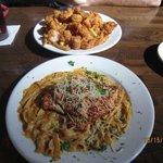 Our meals - chicken alfredo & fried shrimp