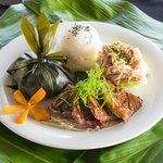 The entree plate, Laulau wrapped in a Ti-leaf, Kalua Pork, and Kalbi Spare Ribs