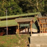 Anaconda Lodge Ecuador seen from the Napo River.