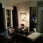 Corral Cottage. Office Desk, Living room and entrance