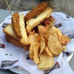 "The ""Oh You Herschel Walker"" Grilled Cheese Sandwich, with fried pickle added"