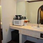 Bathroom + Microwave+Coffee maker