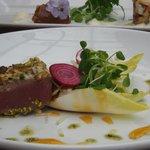 Pistachio-crusted tuna - really tough