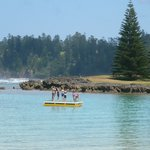 Emily Bay - looking south - kids playing on the raft