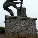 Grape Crusher Statue at top of resort vineyard