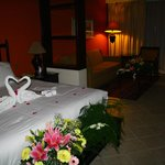Our room with the wedding ceremony flowers
