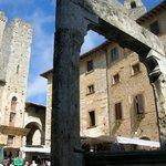 A view of the market area of the Piazza della Cisterna