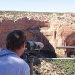 I looking tru binoculars to the ruins
