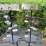 2 flights of wine for tasting, overlooking the vineyard