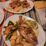 snapper and grilled prawns