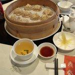 A basket of pork dumplings