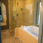Shower area with full length mirror