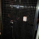 Love the rain shower. Bathroom door is 100% see thru glass.
