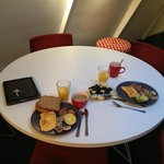 Dining table with our breakfast