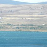 Our cottages from the other side of Lake Thingvellir