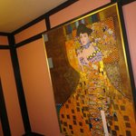 Gustav Klimt portrait on the wall