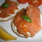 Smoked salmon on toasted bagel