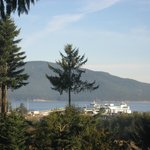 View of the Anacortes Ferry dock and San Juan Islands in the background