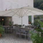 Gondo - Restaurant Stockalperturm - terrace by rain