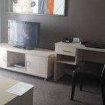 The tv/desk area