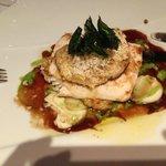 Halibut with cauliflower and foie gras