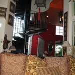 reception & living  area and spiral staircase
