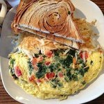 Greek Omelet with home made Cinnamon Swirl toast