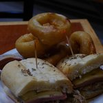 Cuban and onion rings