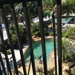 View of pool from our balcony.
