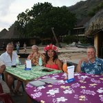Dining with Jay and our bungalow neighbour Fred.
