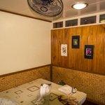 Ceiling fan in room.
