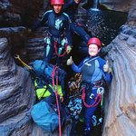 Ready to abseil in Know Gorge