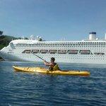 Kayak past the majestic cruise ships in Port Vila