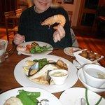 enjoying dinner at Hallams Waterfront, Launceston