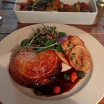 Oxtail pie with potato wafers and fresh watercress with a grainy mustard drizzle (R85)