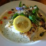 Pan fried fresh line fish with a caper lemon parsley sauce   served with lemon grass basmati ric